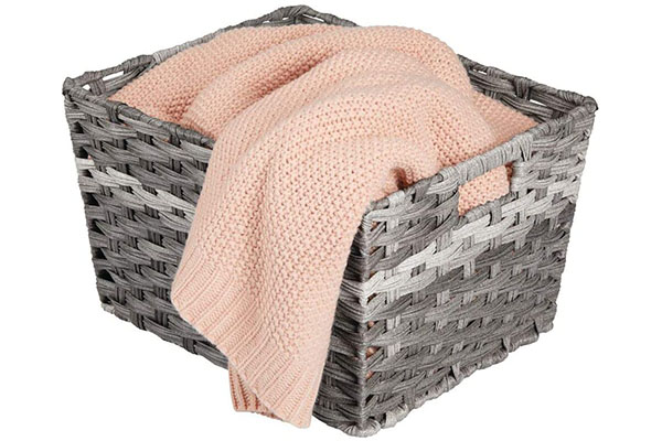 Woven storage basket keeps home clutter